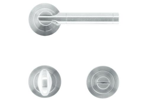 "Solid stainless steel look door handles ""Vito"" with toilet set"