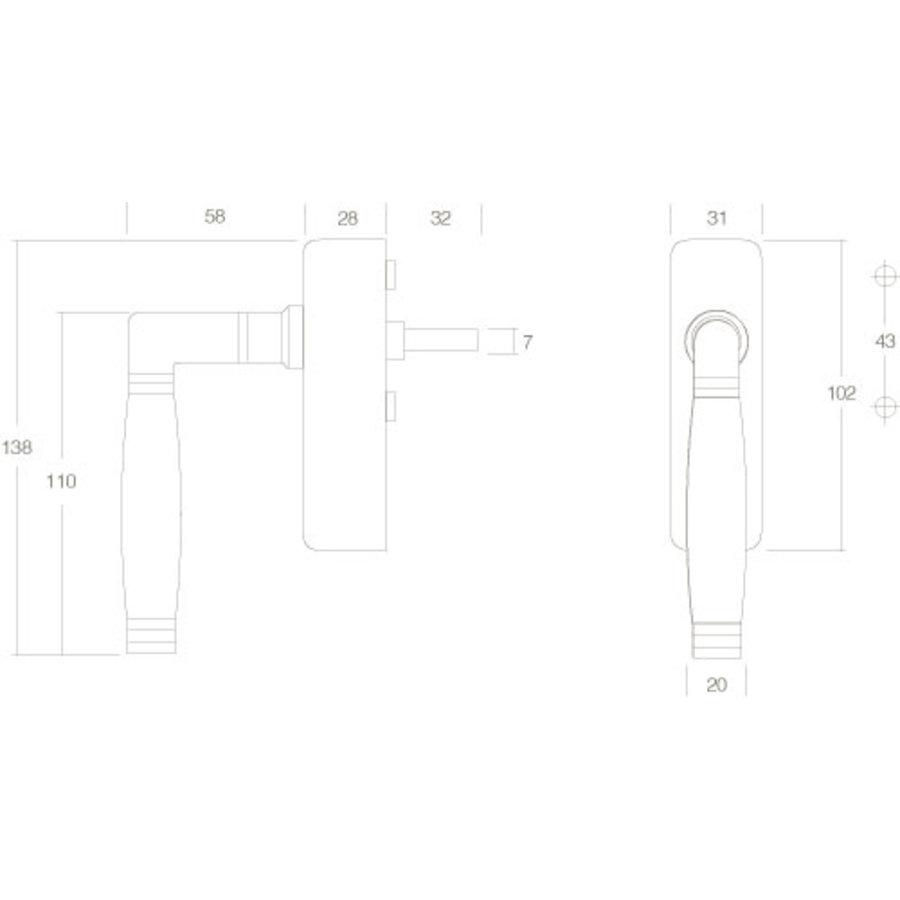 Intersteel Raamkruk Ton 222 afsluitbaar nikkel/ebben hout