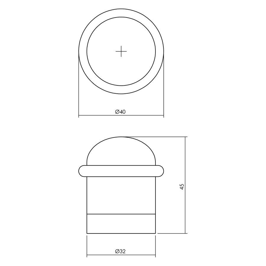 Intersteel Deurstop met ring nikkel mat