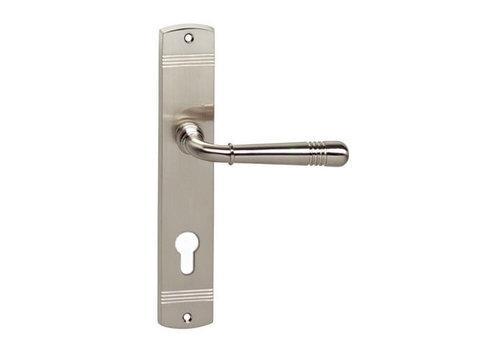 Intersteel Emily door handle on shield profile cylinder hole 72 mm nickel matt