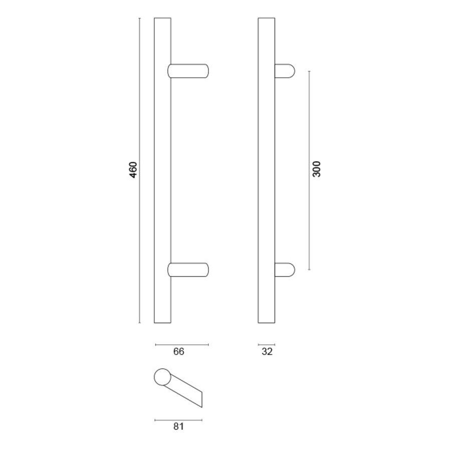 RVS deurgreep ST 32/300/460 - doorgaande bevestiging