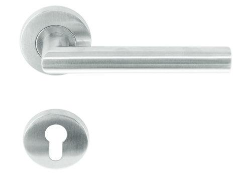 """rvs deurklinken rolluik """"I shape"""" met cilinderplaatjes"""