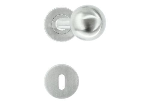 rvs deurklinken/deurknoppen BS Shape 50 mm met sleutelplaatjes