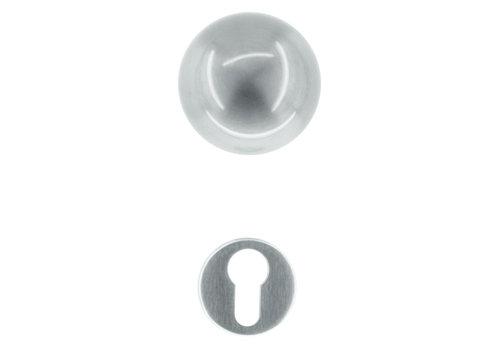 Deurklinken/deurknoppen Boccia rvs look met cilinderplaatjes
