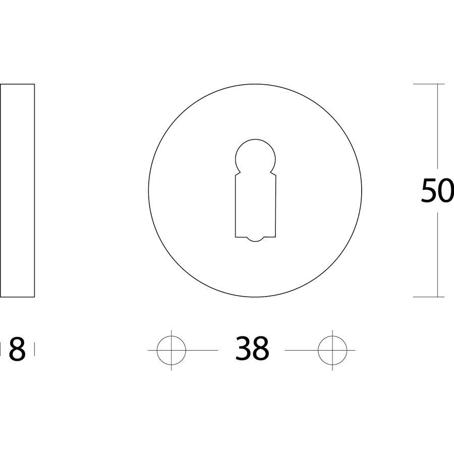 Intersteel Rozet sleutelgat rond verdekt chroom 50mm