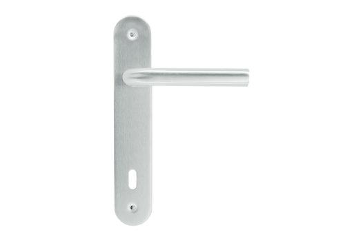 Stainless steel door handles 'L shape' on plate key version