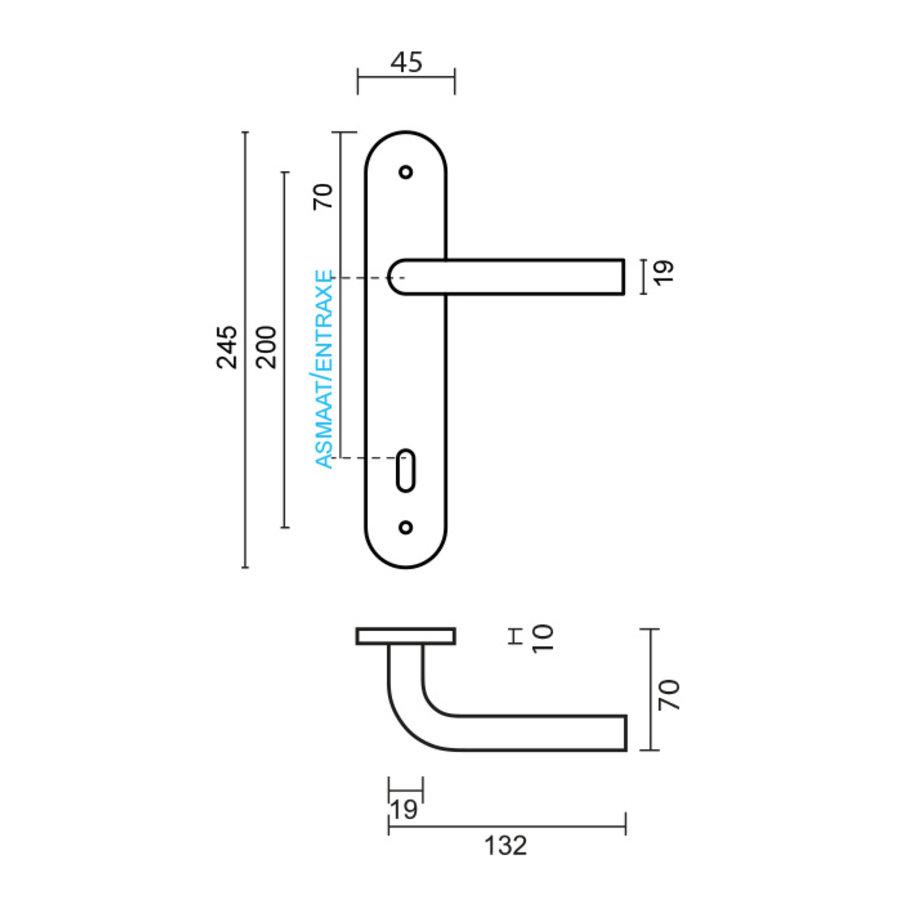 RVS deurklinken L shape op plaat
