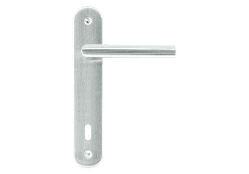 Poignées de porte en acier inoxydable 'I shape' sur plaque version clé