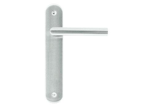 Stainless steel door handles 'I shape' on blind plate