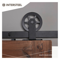 Intersteel Schuifdeursysteem met spaakwiel 170mm, staal mat zwart