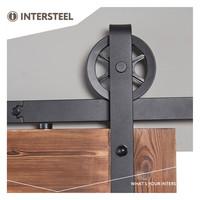 Schuifdeursysteem 2 meter, hangrollen met spaakwiel 345mm, staal mat zwart, montage voorzijde