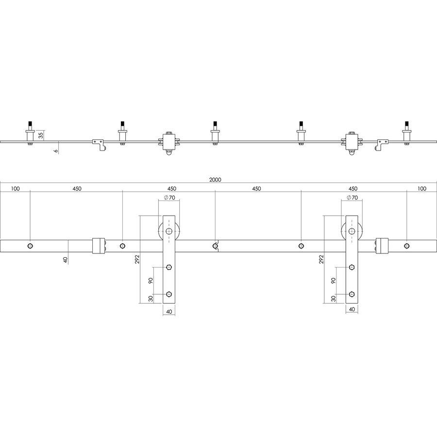 Intersteel Schuifdeursysteem tbv glazen deur