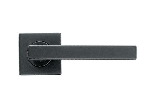 Zwarte deurklink Kubic Shape gatdeel links