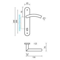 rvs deurklinken GI shape op plaat sleutelversie