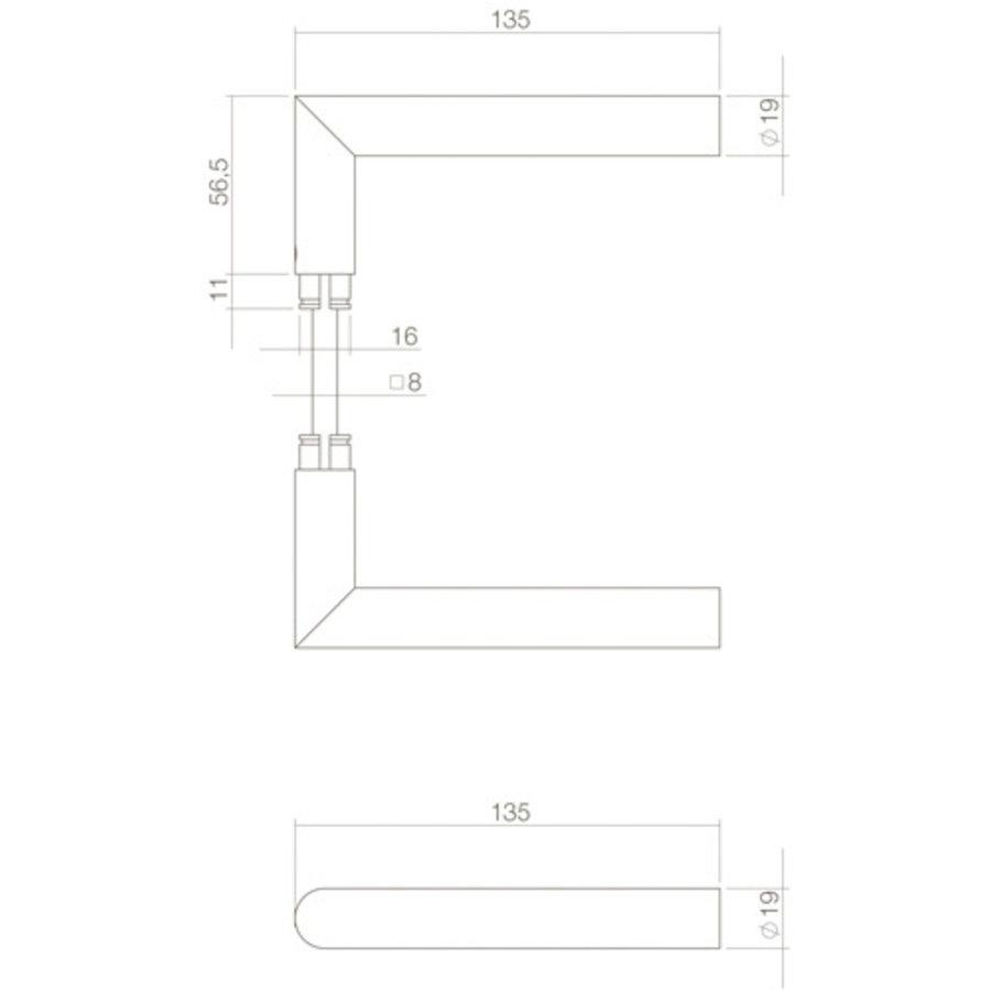Paar deurkrukken Jura rechte hoek 90° RVS zwart voor veiligheidsschildden
