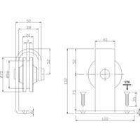Set van 2 rollers recht 140mm tbv schuifdeursysteem 450100, incl. bevestiging, staal mat zwart