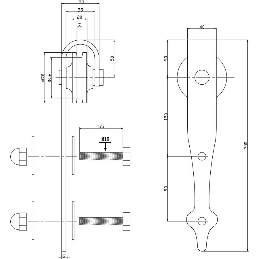 Set van 2 hangrollen pijlvorm 29 cm mat zwart