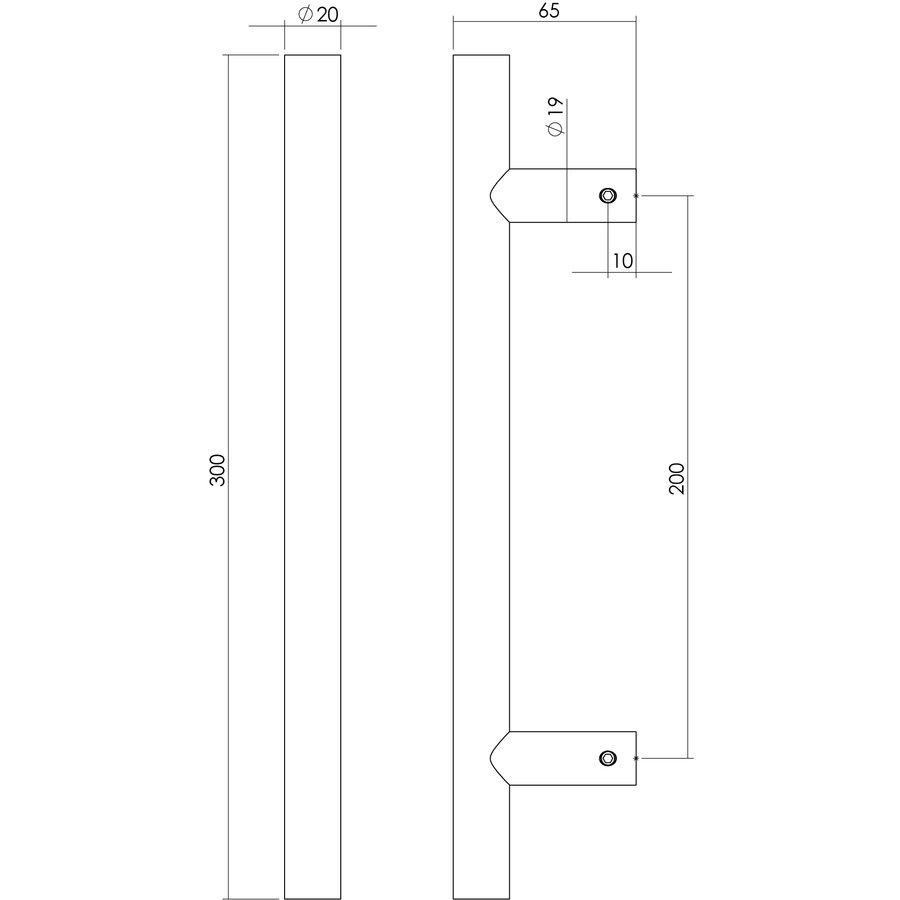 Intersteel Deurgreep T-model 20/200/300 mm mat zwart