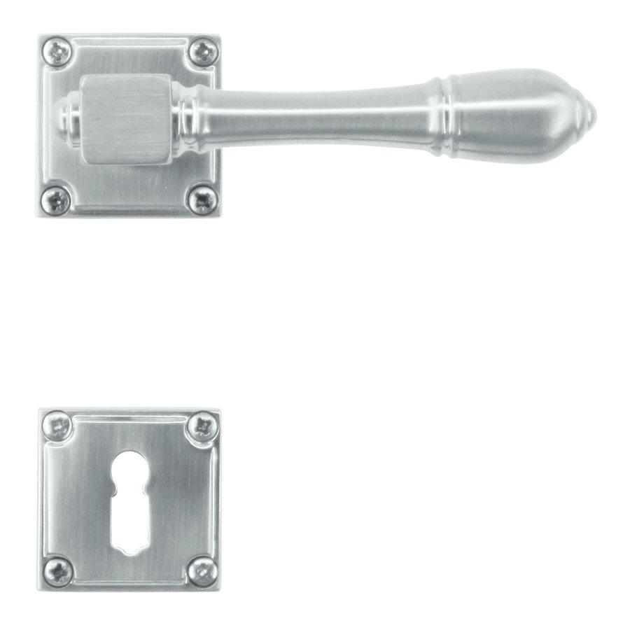 massieve RVS look deurklinken Carre met sleutelplaatjes