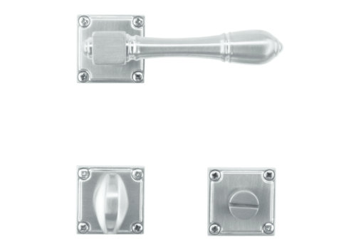 solid stainless steel look door handles Carre with WC