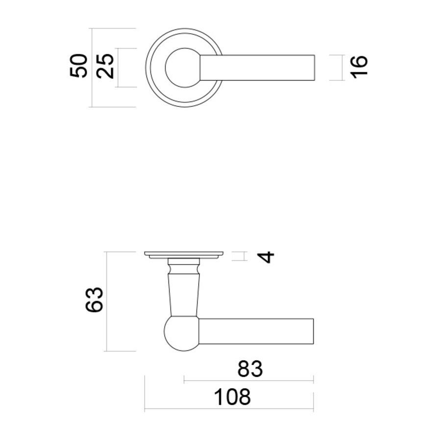 massieve rvs look deurklinken Petana L+L met cilinderplaatjes