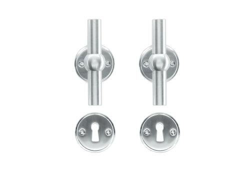 Solid stainless steel look door handles Petana T+T with BB