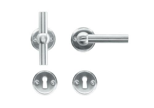 Solid stainless steel look door handles Petana T+L with BB