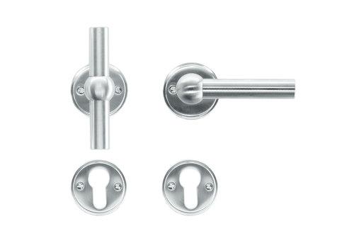 Solid stainless steel look door handles Petana T+L with PZ
