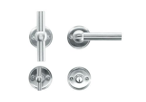 Solid stainless steel look door handles Petana T+L with WC