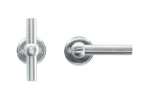 Solid stainless steel look door handles Petana T+L without BB