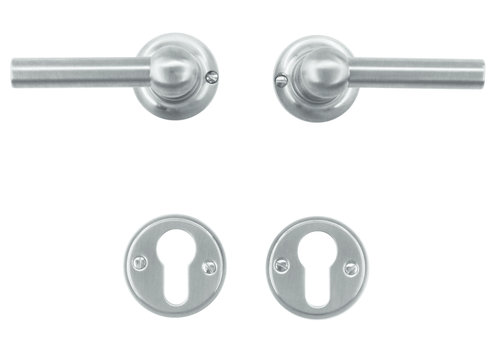 Solid stainless steel look door handles Petra L+L with PZ