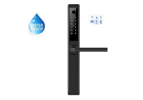 Poignée de porte intelligente D41B noire avec lecteur de doigt