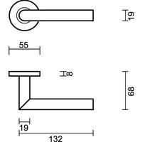 Aluminium deurklinken 'I Shape 19 mm' met cilinderplaatjes