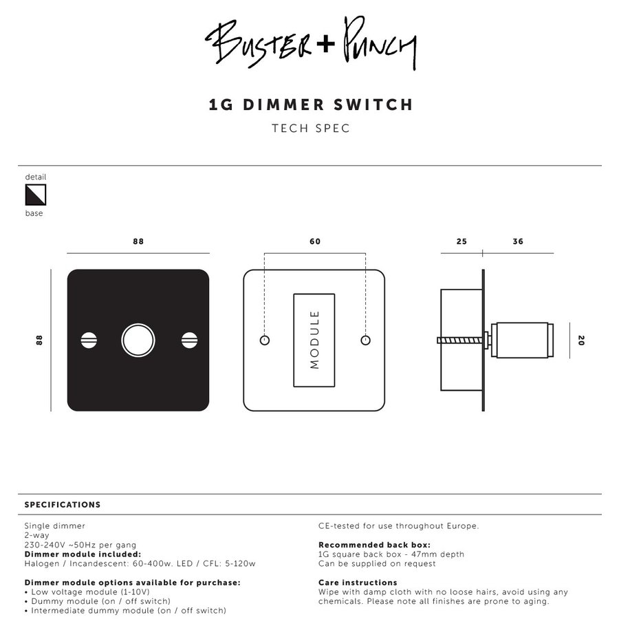 1G Dimmer switch / Smoked Bronze / Buster+Punch