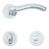 Chrome deurklinken Fly met WC garnituur
