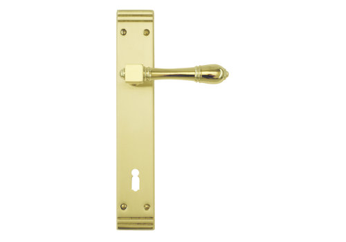 Poignées de porte Aldagonda cuivre sur plaque avec BB