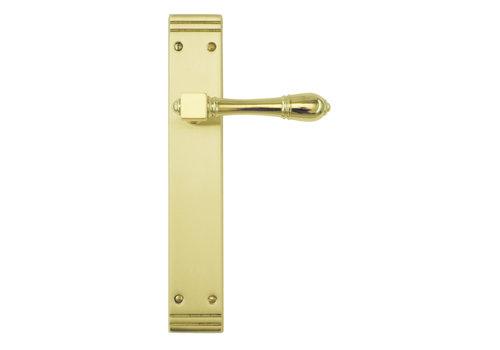 Poignées de porte Aldagonda cuivre sur plaque avec WC