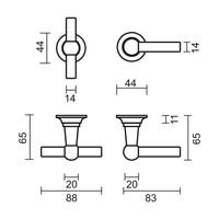 deurklinken Petra T+L koper niet vernist met cilinderplaatjes