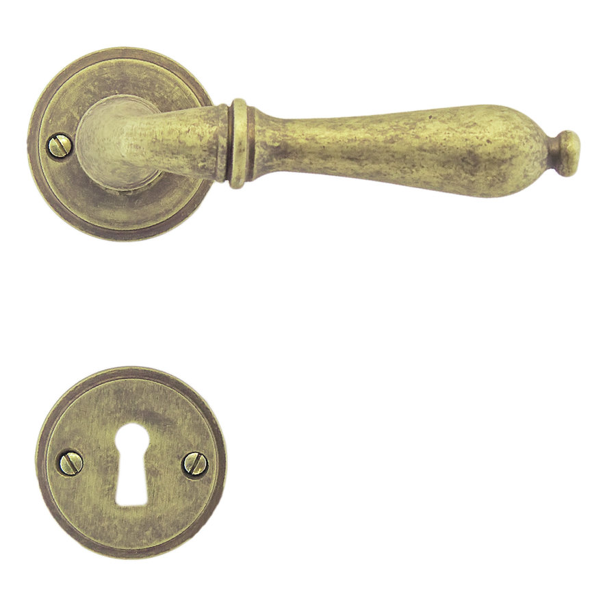 deurklinken Da Vinci old yellow met sleutelplaatjes