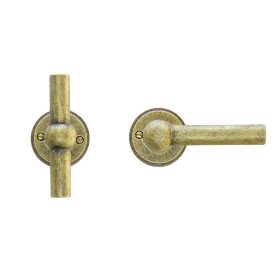 deurklinken Petana T+L old yellow zonder sleutelplaatjes