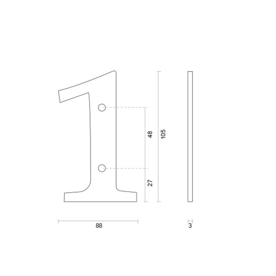Huisnummer 1 ijzer 104mm