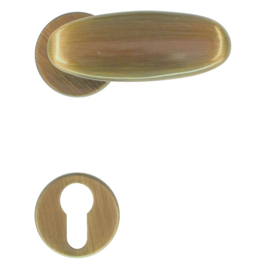 deurklinken Olive brons met cilinderplaatjes