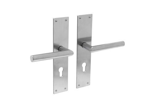 Stainless steel door handles Jura with shield - PZ 110mm