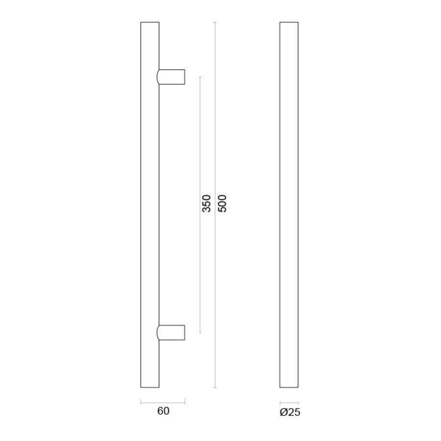 RVS deurgreep T 25/350/500 - doorgaande bevestiging