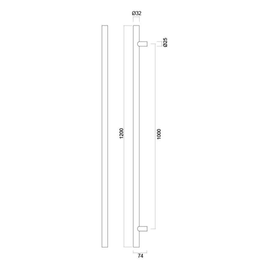 RVS deurgreep T 32/1000/1200 - doorgaande bevestiging