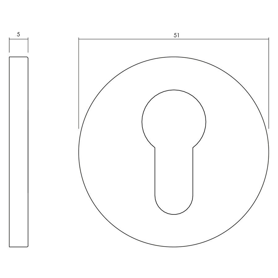 1 Olivari rosette round with cylinder hole copper matt titanium PVD