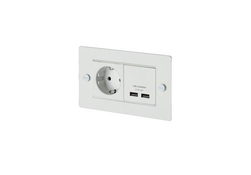 2G USB-Ladegerät & Eurobuchse / Weiß