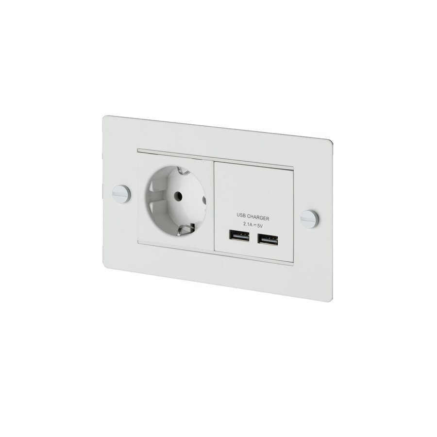 Witte USB-lader met stopcontact / 2G / Buster+Punch