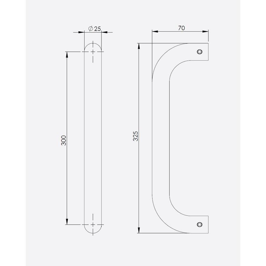 Black door handle U-shape 25x300x325mm - depth 70mm