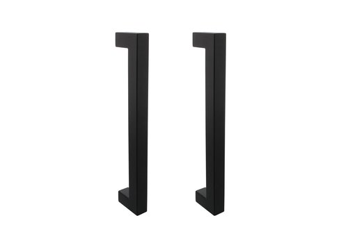 Pair of black door handles square 25x300x325mm